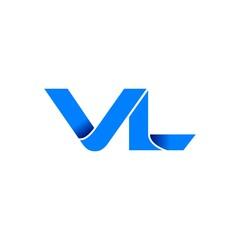 vl logo initial logo vector modern blue fold style