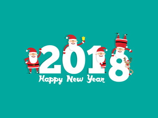 happy new year 2018 banner with santa claus and christmas deer