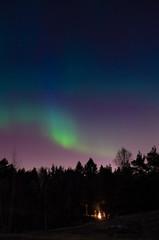 Bonfire under Northern Lights