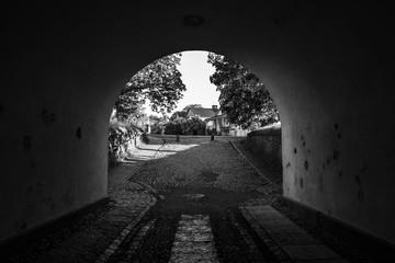 Entrance arch to Suomenlinna island Unesco World Heritage located in Helsinki Finland