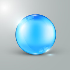 Shiny blue glass ball with light effects, vector illustration