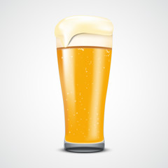 Realistic glass of beer, vector illustration