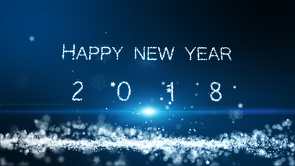 The particle merges into a Happy new year 2018 with light ray beam.
