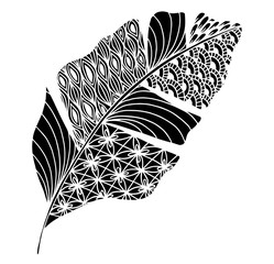 Vector illustration leaves and in doodle style. Floral, ornate, decorative, tribal vector design elements. Black and white background. Zentangle hand drawn coloring book page