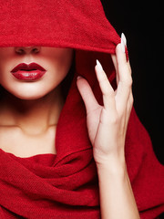 red lips woman under hood