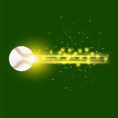 Burning Baseball Ball with Yellow Sparkles