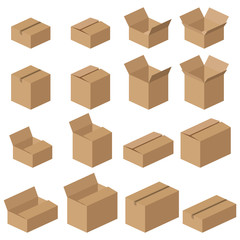 Set of different vector cardboard boxes. Realistic mockups of brown delivery packages.