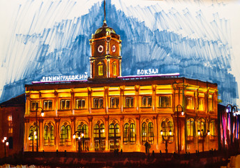 The building of the Leningrad railway station in Moscow, at night, backlit, historical building, marker illustration.