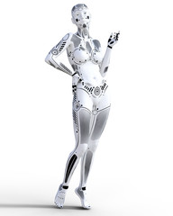 Robot woman. White metal droid. Artificial Intelligence. Conceptual fashion art. Realistic 3D render illustration. Studio, isolate, high key.
