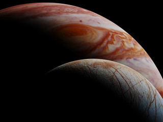 Jupiter's moon Europa and the planet Jupiter