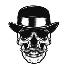 Illustration of human skull in vintage hat.