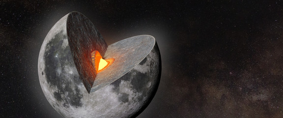 Moon structure, crust, mantle, core,  in front of a star field