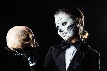 looking at a skull