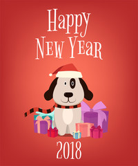 2018. Happy New Year. Cartoon dog with gift boxes. Vector illustration