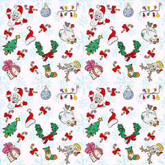 Pattern in the style of children's drawings with Christmas and New Year's symbols 3
