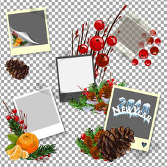 Christmas coniferous design with sweets and photo paper. Vector holiday card