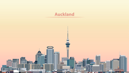 vector illustration of Auckland city skyline at sunrise