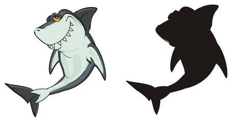 shark, predator, teeth, jaws, fin, fish, cartoon, animal, ocean, gray, wild, zoo, two, different