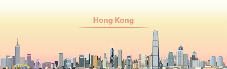 Wall Mural - vector illustration of Hong Kong city skyline at sunrise