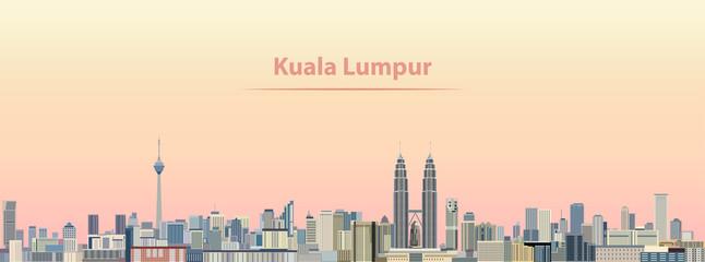 vector illustration of Kuala Lumpur city skyline at sunrise