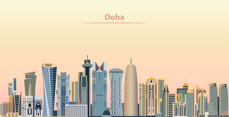 vector illustration of Doha city skyline at sunrise