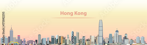 Fototapete vector illustration of Hong Kong city skyline at sunrise