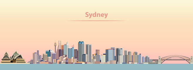 Wall Mural - vector illustration of Sydney city skyline at sunrise
