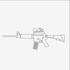M16 icon. Machine gun outline