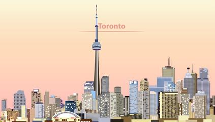 Wall Mural - vector illustration of Toronto city skyline at sunrise