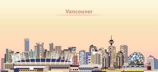 Fototapete - vector illustration of Vancouver city skyline at sunrise
