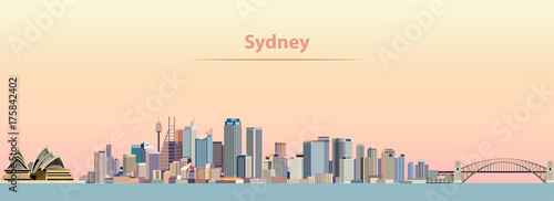 Fototapete vector illustration of Sydney city skyline at sunrise