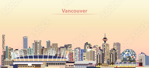 Fotomurales vector illustration of Vancouver city skyline at sunrise