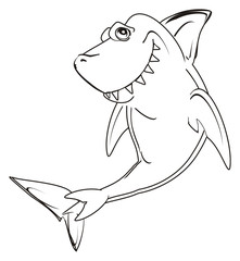 shark, predator, teeth, jaws, fin, fish, cartoon, animal, ocean, gray, wild, zoo, not colored, coloring, paint
