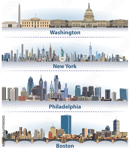 vector set of united states city skylines stock image and royalty