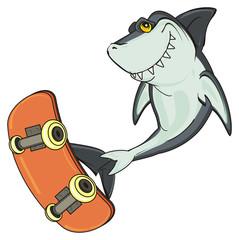 shark, predator, teeth, jaws, fin, fish, cartoon, animal, ocean, gray, wild, zoo, sport, skate, board, skateboard, ride, jump