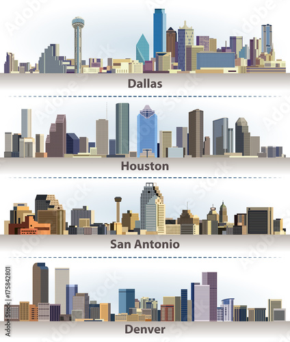 Fototapete vector collection of United States city skylines: Dallas, Houston, San Antonio and Denver