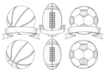 Sport balls for basketball, american football and soccer