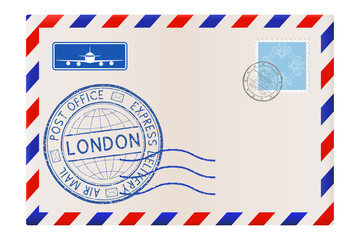 International mail envelope with LONDON stamp. Blue postmark and stamps