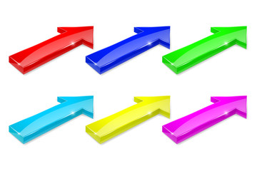 Colored arrows. 3d shiny icons