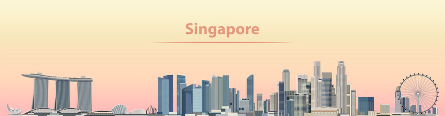 Fototapete - vector illustration of Singapore city skyline at sunrise