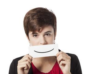 girl holding false smile card