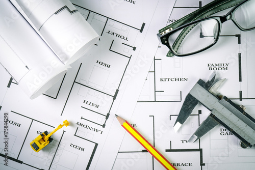 Top View Of Architect Drawing On Non Identified Architectural Project With Various Tools Such As