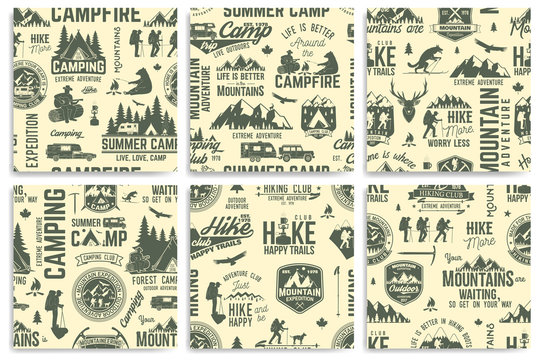 Summer camp and Hiking seamless pattern or background.