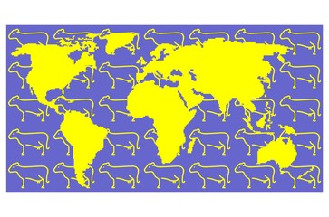 yellow map with cow background