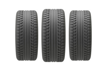 Three tires before white background