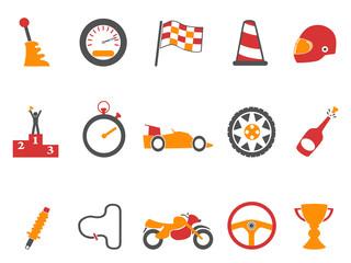 orange race icons set