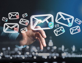 Approved email and spam message displayed on a futuristic interface - Message and internet concept