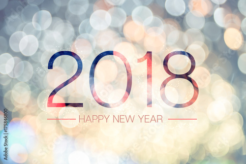 Happy new year 2018 with pale yellow bokeh light sparkling ...