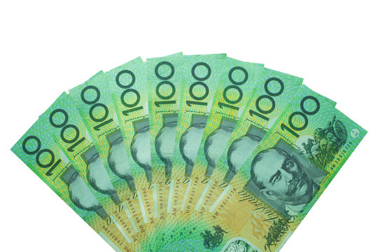 Australian dollar, Australia money 100 dollars banknotes stack on white background with clipping path.