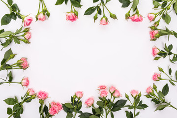Round frame with pink flower roses buds, branches and leaves isolated on white background. lay flat, top view